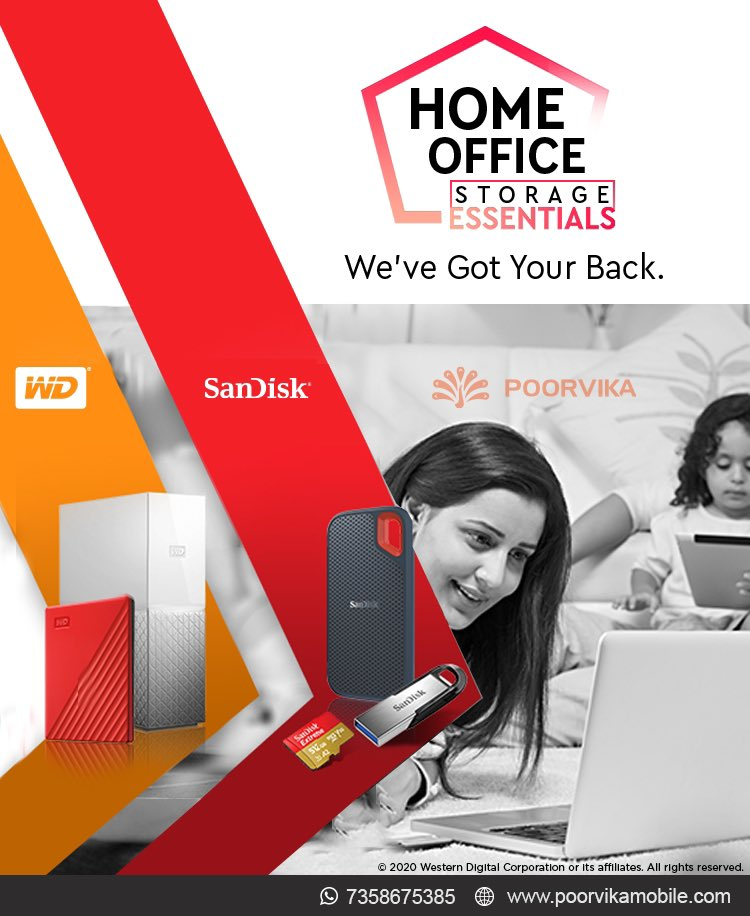 WorkFromHome or WorkFromOffice All you need is Storage for your files.We have a wide range of storage solutions for you Backup your smartphone or a Laptop with our Protable Sandisk Pendrives amp MemoryCards by Shopping at Poorvika.Shop Now