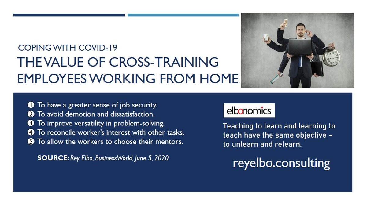 ELBONOMICS – Teaching to learn and learning to teach have the same objective To relearn and unlearn. EmployeeCrossTraining Covid19 WorkFromHome